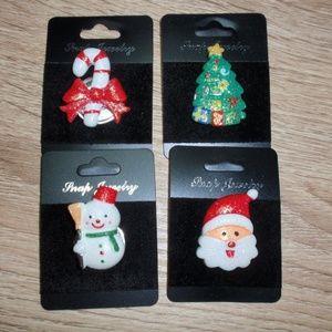 18mm Christmas Snaps Bundle 4 Buttons Snowman Sant
